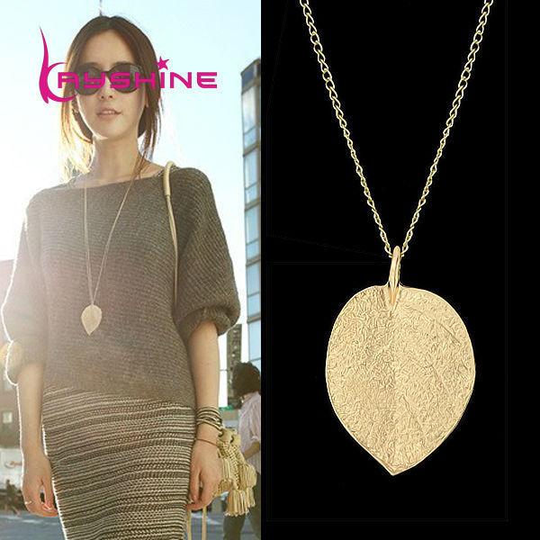 Joyería de moda barata Maxi collar de oro de color cadena hoja diseño colgante collares y colgantes nuevo para las mujeres Collier femme