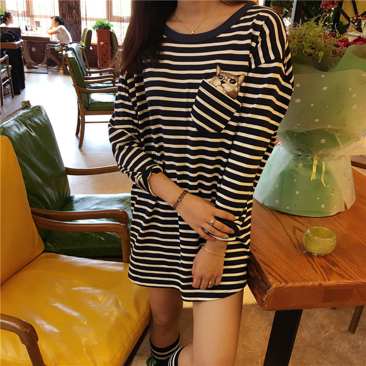 Large All T Ladies Chart Korea See Spring Long Color match Pocket 2017 New Sleeve see shirt Chart Embroidery Female Stripes 2 fftxOFa8