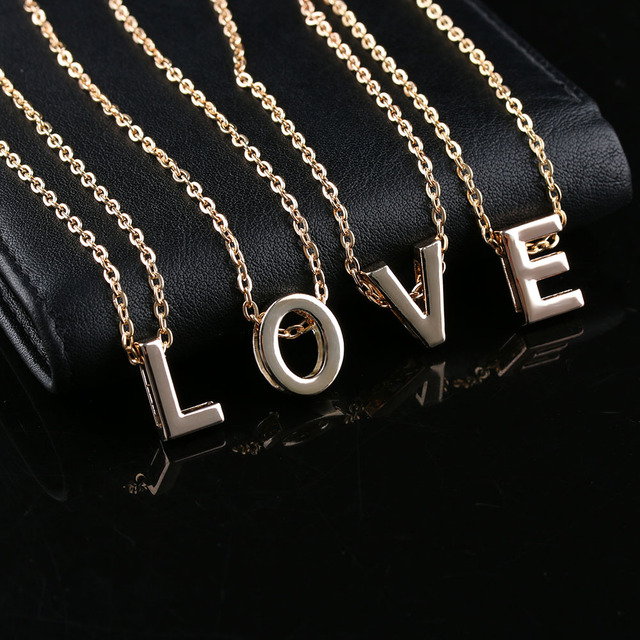 08c7895390 1 pc Hot Stylist Women Men Lovers Gift Gold Letter Name Initial Chain  Pendant Fashion Necklace