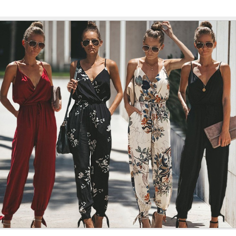LY5501 Spaghetti Strap Beach Boho Floral Print Romper Women Beach Dress Jumpsuit Strappy Sexy V Neck Wrap Pocket Playsuit Tunics