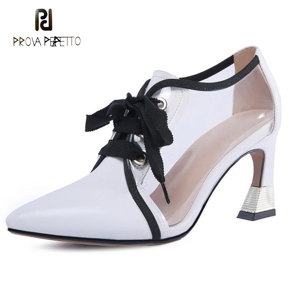 Prova Perfetto women lace up transparent shoes genuine leather patchwork pointed toe strange heel pumps fashion lady dress shoes