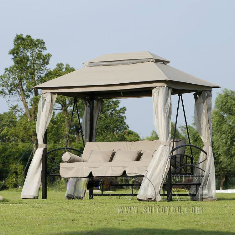 Outdoor 3 Person Patio Daybed Canopy Gazebo Swing - Tan W/ Mesh Walls Hammock Outdoor Chair Swing Hammock Gazebo