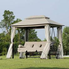 цены Outdoor 3 Person Patio Daybed Canopy Gazebo Swing - Tan w/ Mesh Walls hammock outdoor chair swing hammock gazebo