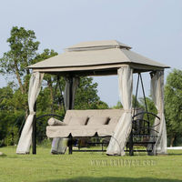 Outdoor 3 Person Patio Daybed Canopy Gazebo Swing Tan w/ Mesh Walls hammock outdoor chair swing hammock gazebo
