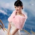 Marfil Negro Blanco Pink Faux Fur Mantón Nupcial Del Abrigo Del Encogimiento de hombros de Novia de La Boda de dama de Honor Del Cabo Robó En Stock