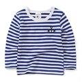 Детская одежда высочайшее качество мальчики с длинными рукавами Футболки в полоску осень детские топы девушки рубашки основные для 2-8 лет