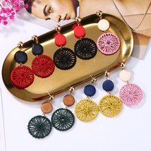 HOCOLE Korean Handmade Round Wooden Earrings For Women Popular Hollow Mesh Wood Drop Female Jewelry Wholesale Boho 2019