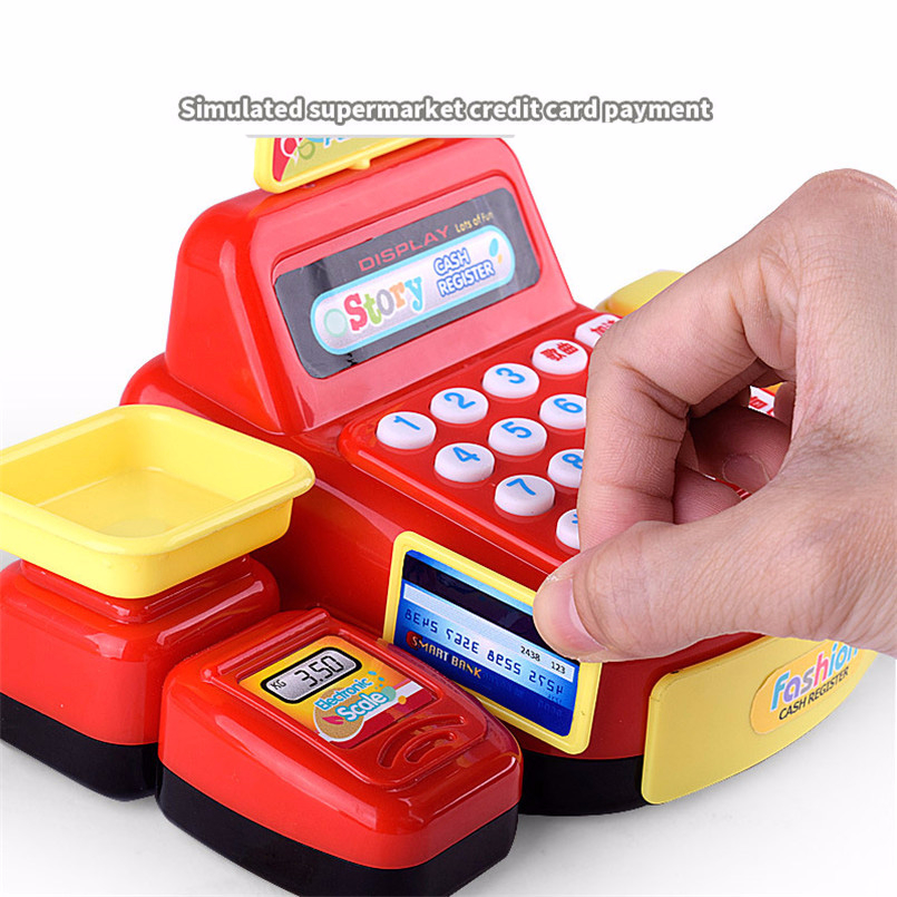 Plastic Mini Simulated Supermarket Checkout Counter Role Girls Cash Register Machine Toys Educational Pretend Play Kids Toys Karachi