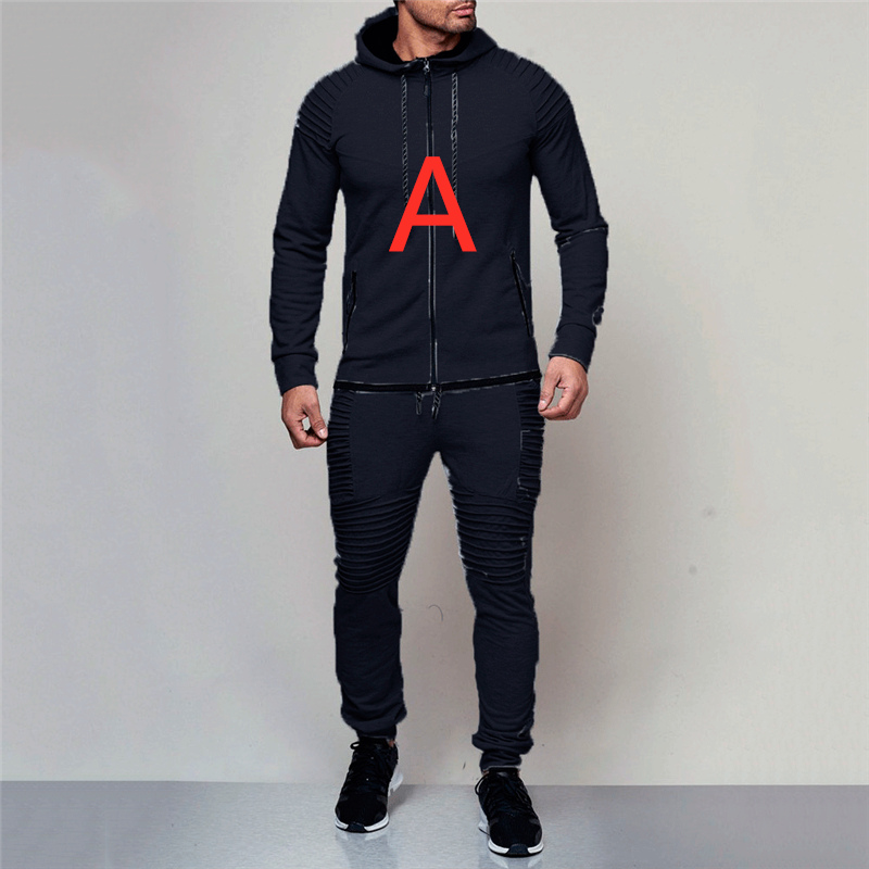 A Man Sets For Mens Spring Hoodies Tracksuit Spring Male Zipper Pleated Sweatshirts Sweatpants High Street Jackets Sets Pullover