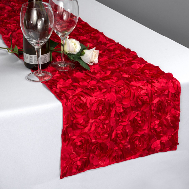 10pcs Pack 12 Inch X 108 Rose Embroidery Table Runner Rosette Satin Tablerunner For Wedding Party Banquet Decorations