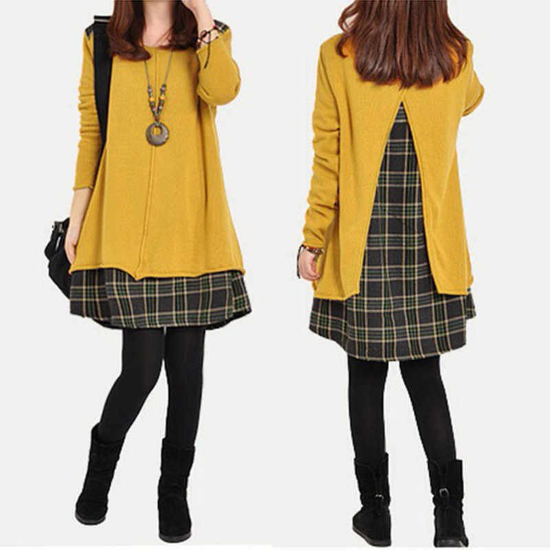 2019 Herfst Winter Vrouwen Plaid Spliced Korte Jurk Lange Mouwen Ronde Hals Loose Casual Party Vintage Jurken Plus Size