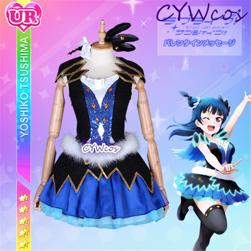 Customized Love Live Sunshine Aqours WATER BLUE NEW WORLD Tsushima Yoshiko Cosplay Costume Halloween Dress Skirt Party Costumes