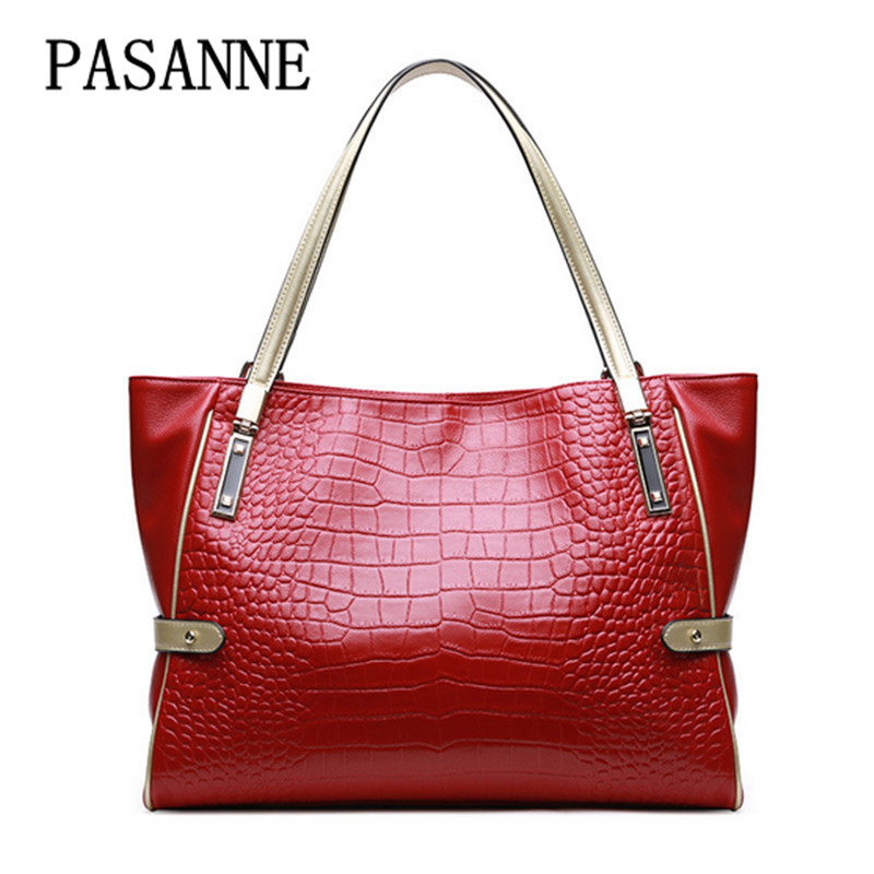 2017 New Women Bag Tote Handbag PASANNE Genuine Leather Luxury Fahison Female Totes Handbags Leather Woman Large Shoulder Bags luxury genuine leather bag fashion brand designer women handbag cowhide leather shoulder composite bag casual totes