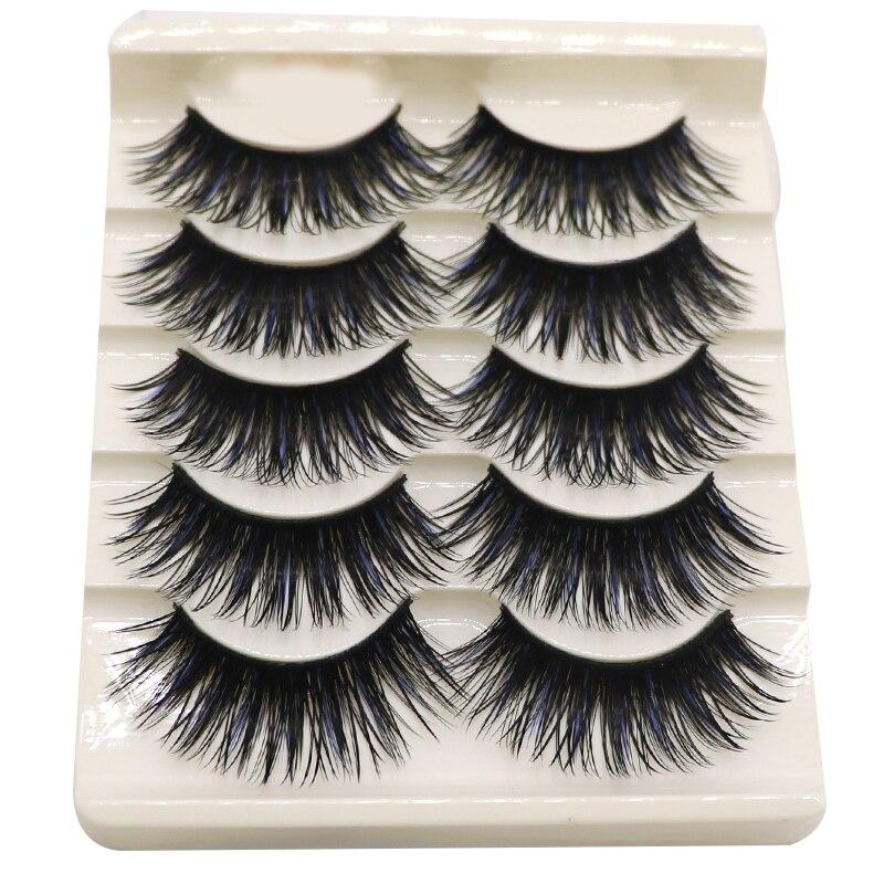 5pair Soft Thick False Eyelashes Makeup 3D Mink Lashes Volume Eyelash Extension for Building Eyelashes Handmade Beauty Lashes