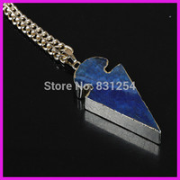 1pc Lot New Style Natural Blue Agate Arrow Shape Charm Pendant 22K Gold Plated Edge Druzy
