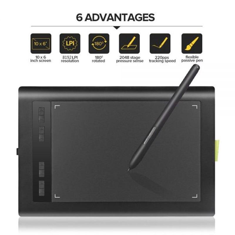 Acepen AP1060 10x6 pouces tablette graphique intelligente tablette numérique 5080LPI avec 2048 stylo de dessin numérique de niveau pour la conception de bureau