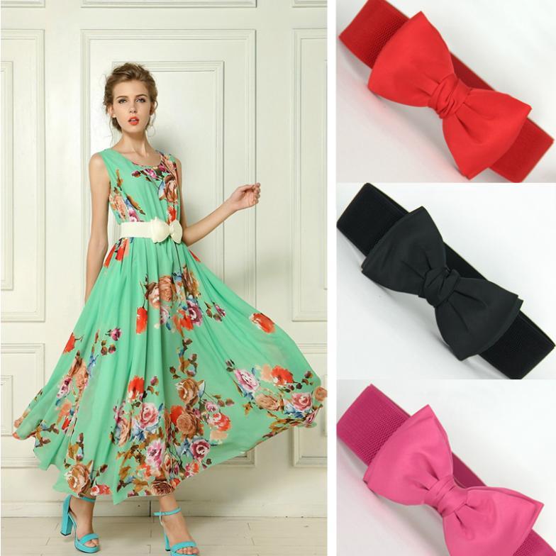 66cm Fashion Wide Elastic Belt for Women Bowknot Elastic Cummerbund Dress Belt Waist Band ho871024