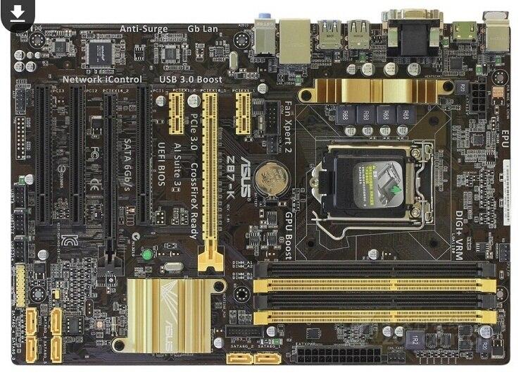 Utilizado, para Asus Z87-K placa base de escritorio original Z87 socket LGA 1150 i7 i5 I3 DDR3 32G SATA3 USB3.0 ATX