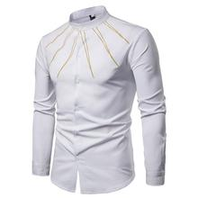 Casual Mens Shirt Long sleeve Solid Golden decoration Stand collar Blouse Men Slim White Black