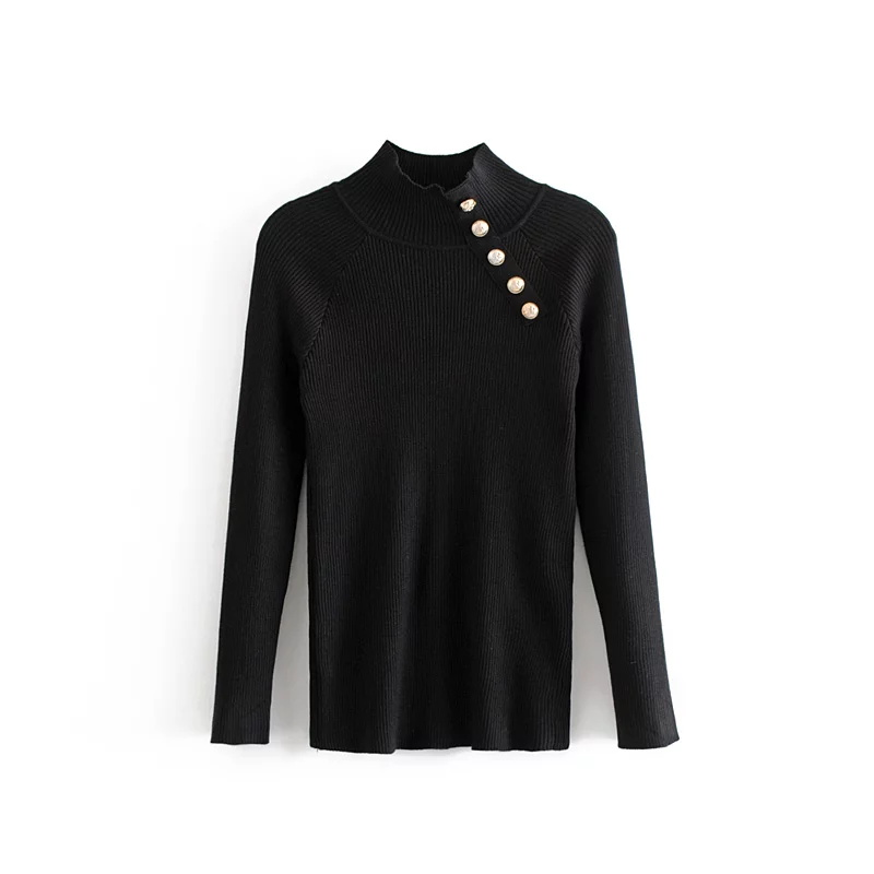 Jenny&Dave 2018 england style sweater button panelled stand solid pullovers autumn and winter  Women's sweater 0927