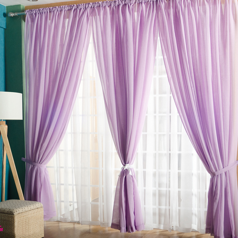 Japanese And Korean Style Linen Tulle Curtains For Living