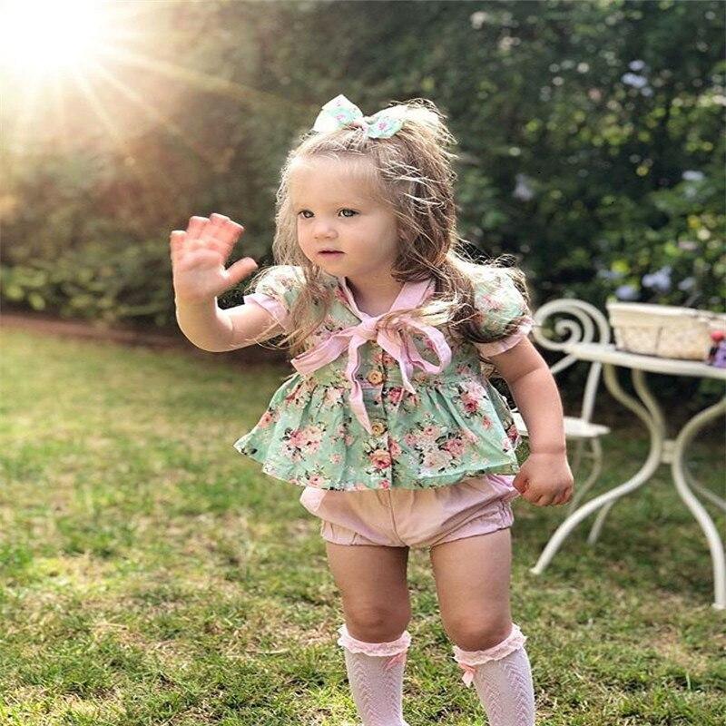 900dacde6 Canis niño bebé niñas conjuntos de ropa de verano niños trajes volantes  manga pétalo Floral ...