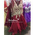 Ouro De luxo Cristal Lace Vestidos Curtos Prom 2017 Com Applique Corpete de Cetim Vestido De Festa Na Altura Do Joelho Vestidos de Festa de Casamento