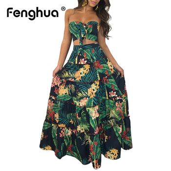 Boho Women Dress Summer 2019 Casual Off Shoulder Flower Print Long Dresses Sexy Strapless Bandeau Party Dress Two Piece Suit 3XL Платье