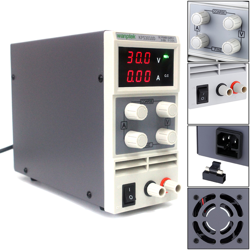 KPS3010D Mini LED Digital Adjustable DC Power Supply ,0~30V 0~10A ,110V-220V, Switching Power Supply 0.1V/0.01A original lw mini adjustable digital dc power supply 0 30v 0 10a 110v 220v switching power supply 0 01v 0 01a 34 pcs dc jack