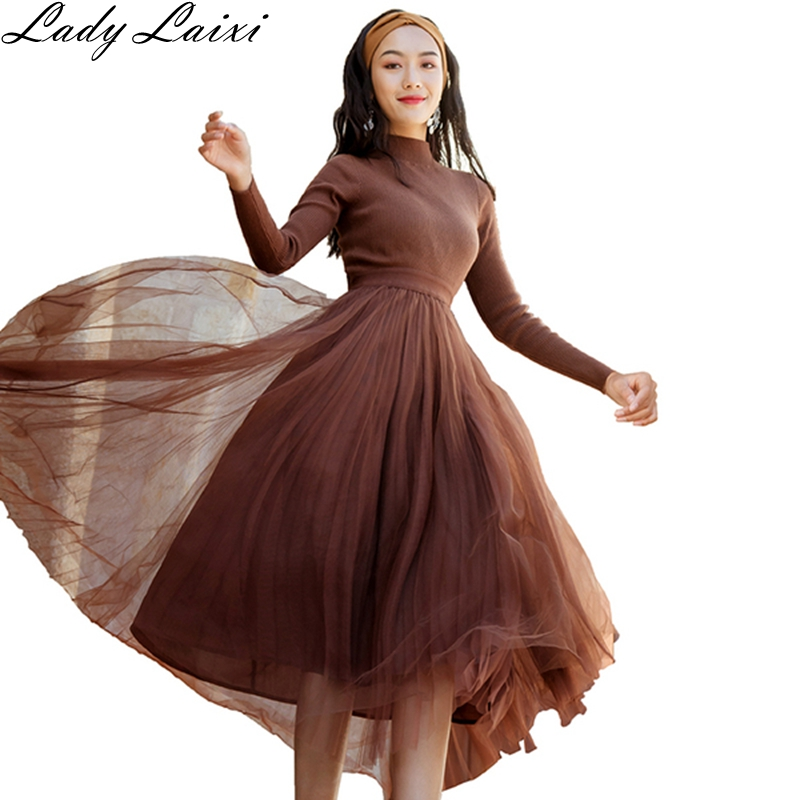 1ef93c7b0236 Vestito Di Donne Elegante Maglia Qualità Alta Delle Del Abiti Rappezzatura  Lunghe Maniche Brown Sfera Midi Della A ...