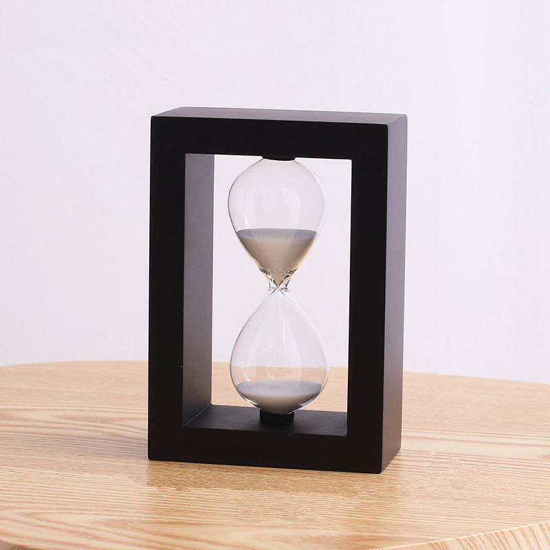 Square Wooden Timer Clock Sandglass 30 Minute Hourglass Sand Dining & Barbecue Countdown Timing Home Decoration Reloj De Arena