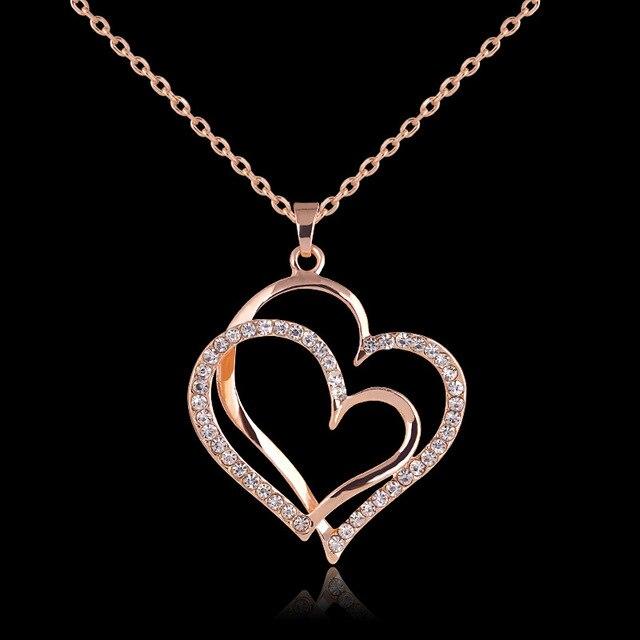 קיץ סגנון רוז זהב צבע תליון כפול לב גביש תכשיטי חתונה יום האהבה אהבת לב שרשראות תכשיטי יוקרה