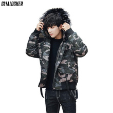 GYMLOCKER Men Parka Coat 2018 Mens Warm Windproof Camouflage Male Hooded fashion Casual Winter Coats parka men clothes M-3XL