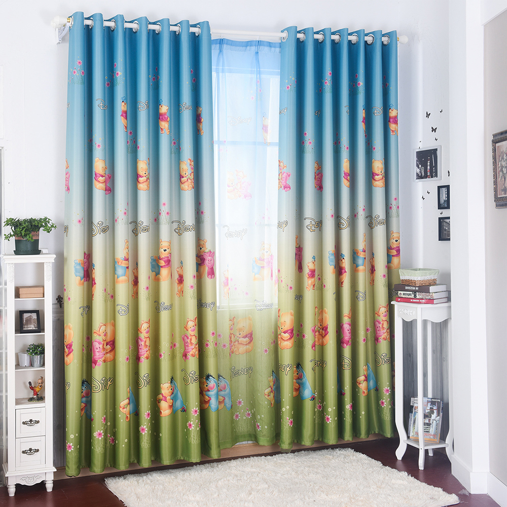Baby Nursery Curtains Pink Curtains Kids Curtains Pair: Cute Cartoon Bear Pink Curtains For Living Room Blackout