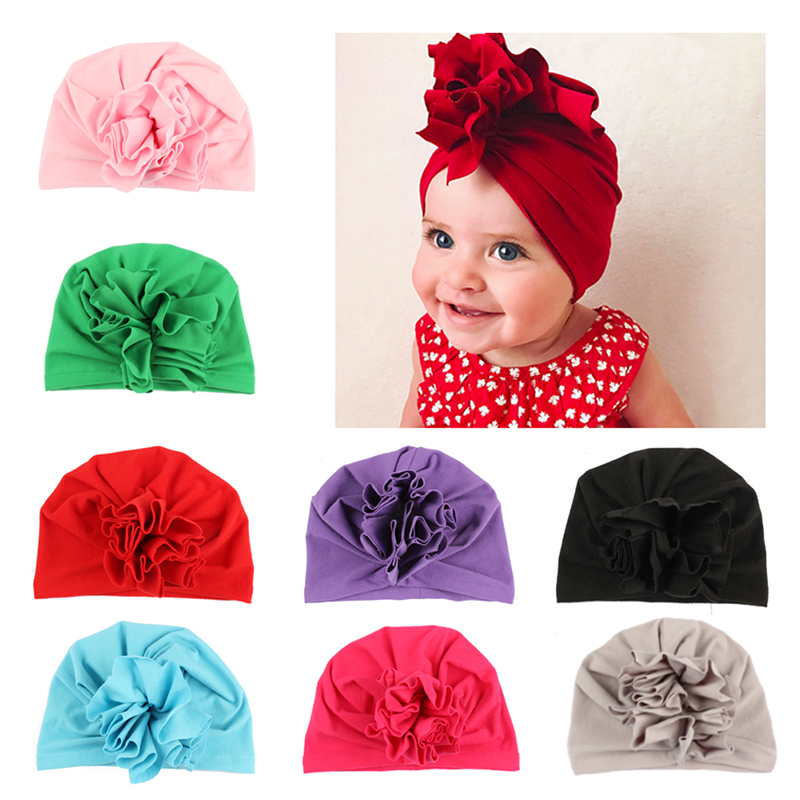 Muslim Flower Baby Hats Newborn Elastic Cute Baby Turban Hats for Girls 10 Colors Cotton Baby Cap 1PCSMuslim Flower Baby Hats Newborn Elastic Cute Baby Turban Hats for Girls 10 Colors Cotton Baby Cap 1PCS