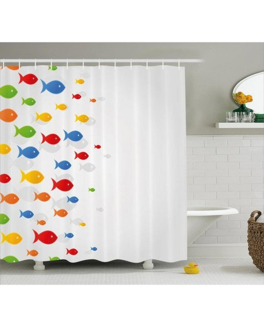 Fish Shower Curtain Cartoon Cute Sea Animals Print For BathroomWaterproof And Fabric Kids