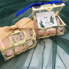50 шт./партия пластиковая Юбилейная партия поставок пользу коробки пользовательское имя золотая коробка для сладостей для самостоятельной сборки свадебный подарок для гостей
