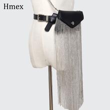 Fashion Women Waist Bag Metal Tassel Belt Bags Punk Rock Small Harajuku waist Belts bag Body Bandage Mini Pack