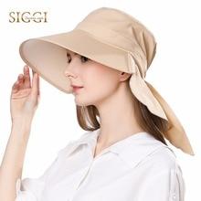 FANCET 女性夏太陽の帽子コットンキャップ Chapeu Feminino プライア帽子ファム法案ネックフラップ UV UPF50 + 大つばファッション 68035