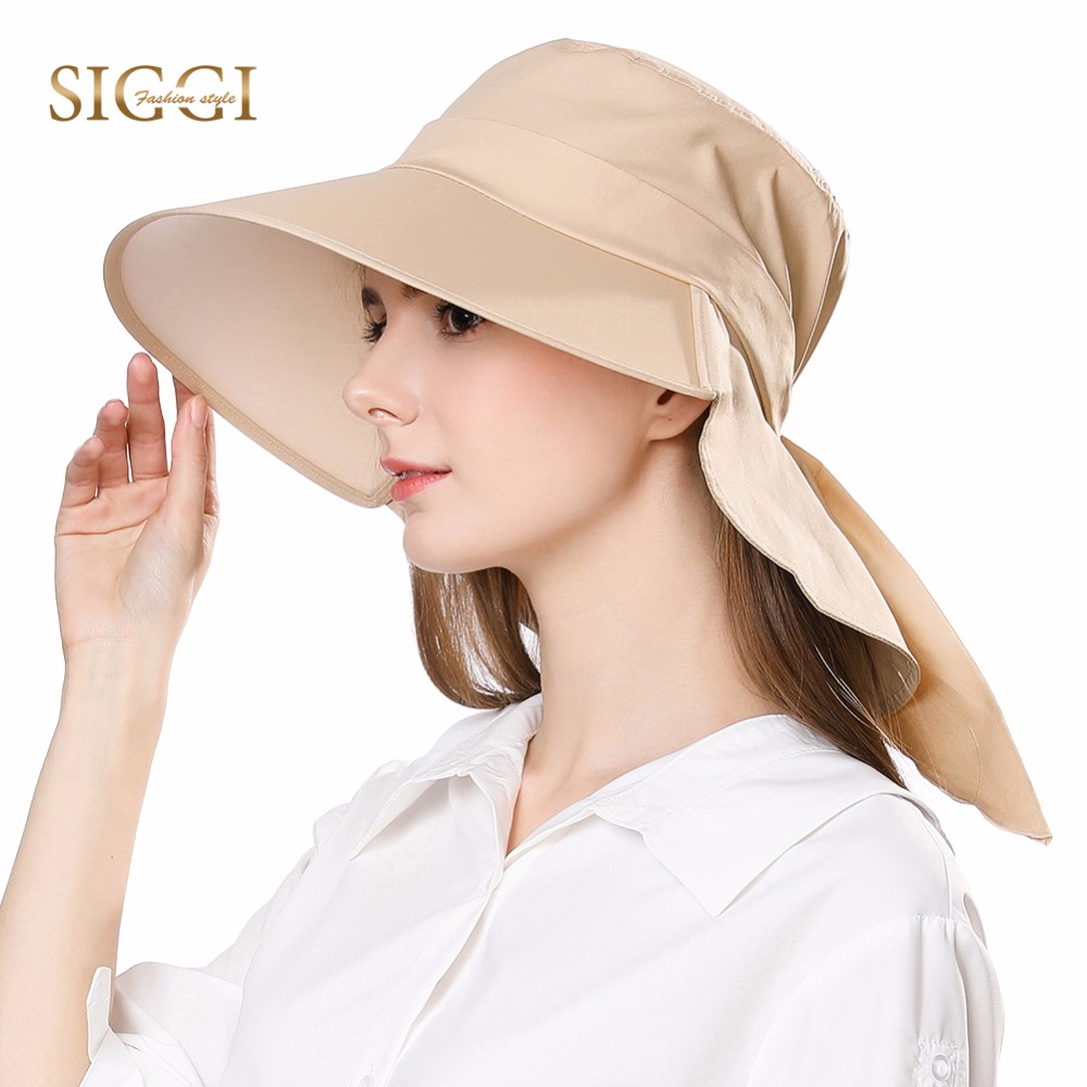 FANCET Women Summer Sun Hat Cotton Cap Chapeu Feminino Praia Chapeau Femme Bill Neck Flap UV UPF50+ Large Brim Fashion 68035
