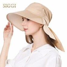 FANCET casquette en coton pour femmes, rabat, col en facture, UV UPF50 + à Large bord à la mode, été 68035