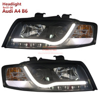 SONAR Brand for Audi A4 B6 headlights 2001 to 2004 year low beam with projector lens led strip bar light Black Housing