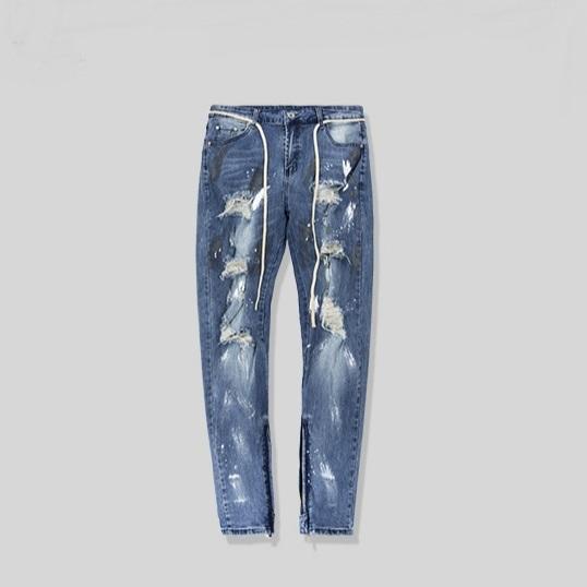 Skinny Distressed Stretch Denim Jeans Justin Bieber Paint Splatter Drawstring Biker Jeans streetwear