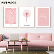 Nordic Style Pink Canvas Painting Posters and Prints Flamingo Feather Wall Pictures for Living Room Scandinavian Girl Room Decor