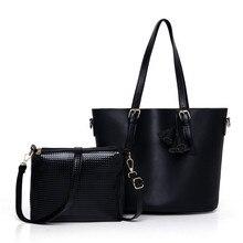 2016 Nuevos bolsos de las mujeres de la pu de cuero bolso bolsos mensajero de las señoras diseños de marca bolso bolsas Bolso + Bolso Del Mensajero 2 Sets