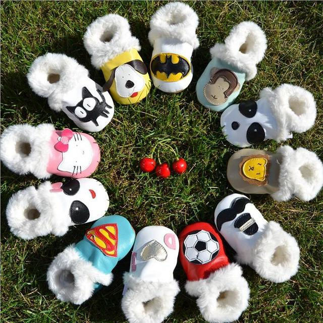 2017 Top quality new winter baby shoes handmade soft sole animal print genuine leather girls baby boys moccasins warm shoes
