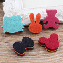 Diy jewerly making 50pcs mix Cats/Bears/Bowknots/Rabbits/Mouse Heads shape Handmade Wool Felt Non-woven patch Hair Accessories