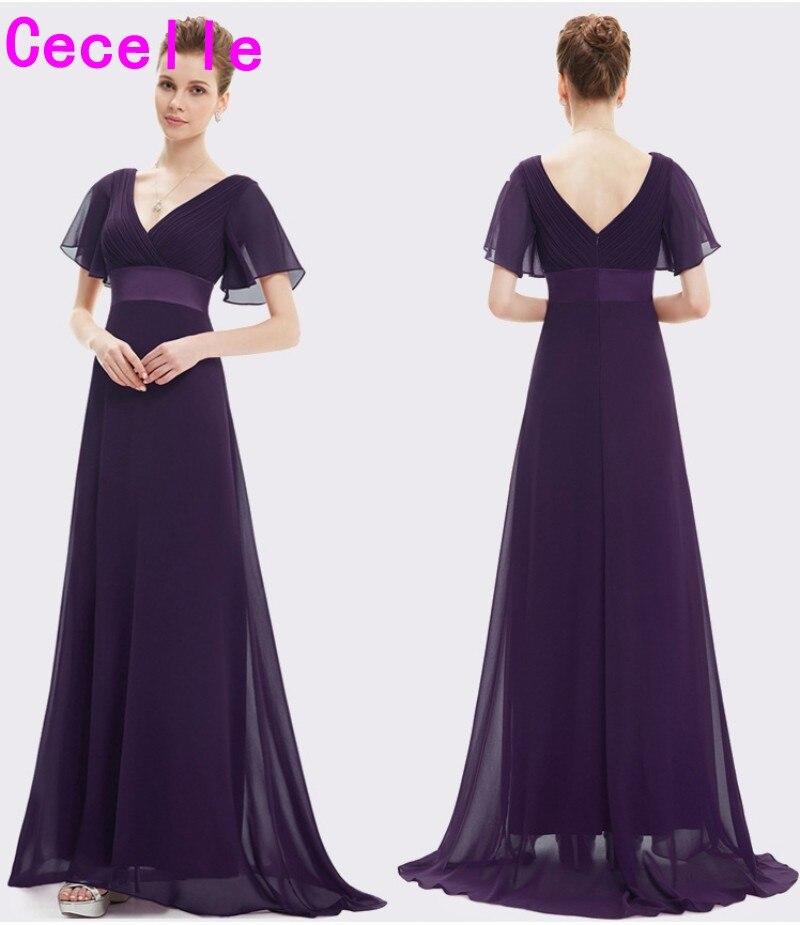 13c6953cbd359b2 2019 Ruched шифон A-lline пляжные Длинные Скромные платья для подружки  невесты с рукавом V шеи длиной до пола Виноград фиолетовый платье подружки  не.