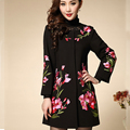 S-5XL Plus Size 2016 Europe Women Elegant Chinese Traditional Embroidered Rome Wool Blend Coat Female Woolen Coat Jacket A530