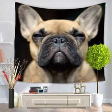 CAMMITEVER Собаки Смешные Симпатичные Молодые Смешные Собаки Черный Белый Пэт Портрет Хиппи Мандала Цифровых Печатных Гобелен
